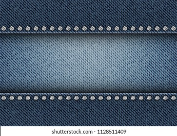 Horizontal jeans texture with stripe and diamonds.