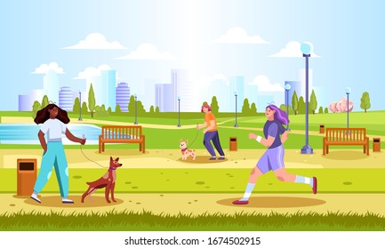 Horizontal landscape with green city park, lake, benches, street lights, meadows and different stylish people and their pets. Summer outdoor activities banner. Girls walking with dogs on a sunny day.