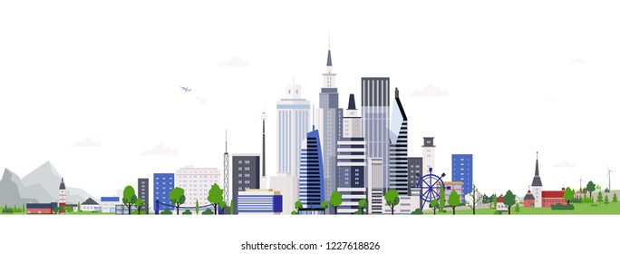 Horizontal landscape with modern tall buildings of downtown or business area. Cityscape with skyscrapers. City development, construction and architecture. Colorful vector illustration in flat style.
