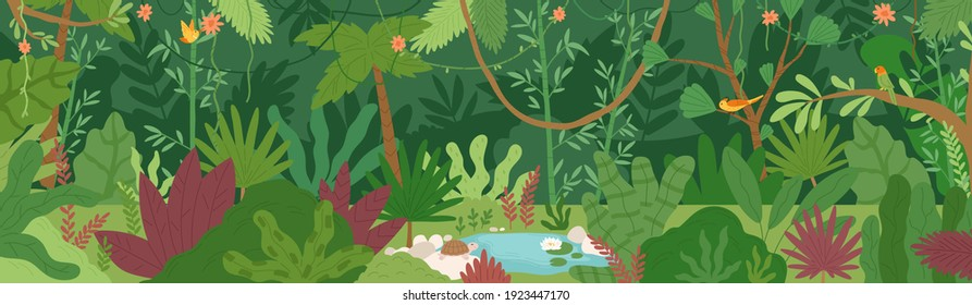 Horizontal landscape of tropical jungle. Panoramic view of dense forest with palms and lianas. Exotic colorful scenery of green rainforest with foliage plants. Colored flat vector illustration