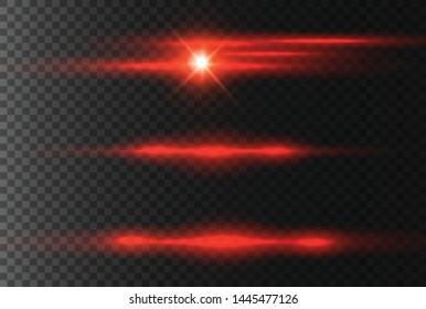 horizontal lens flares pack. Laser beams, horizontal light rays.Beautiful light flares. Glowing streaks on dark background.