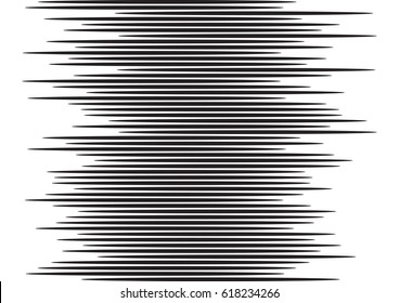 Horizontal lines as a digital sound waves imitation for comic book illustrations. Black and white vector background