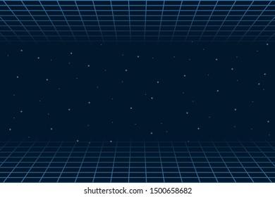 Horizontal matrix grid in space. Futuristic background