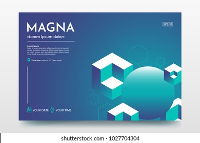 Horizontal minimalistic poster with isometric cubes and place for text. Abstract colorful isometric background. Use for party invitation, presentation, conference invite, avertising, web page, flyer.
