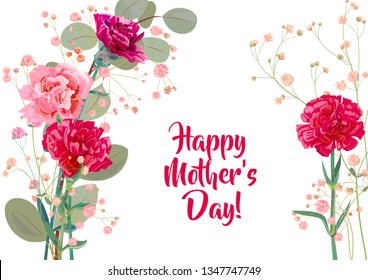 Horizontal Mother's Day card with carnation: red, pink, flowers, twigs gypsophile, leaves eucalyptus, white background. Templates for design, vintage botanical illustration in watercolor style, vector