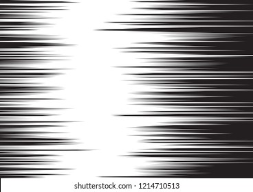 Horizontal motion lines for comic books. Black and white vector background