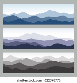 Horizontal mountain ridges. Outdoor vector illustrations in different colors. Set of nature backgrounds for hiking, travelling, banners and outdoor concept.