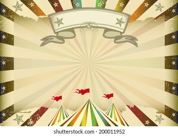 A horizontal multicolor circus background with sunbeams for you. ideal display for a screen or a pad