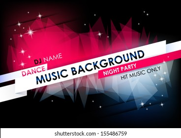 Horizontal music background with stars and place for text.  Vector version.
