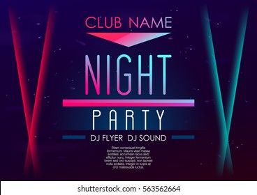 Horizontal music party poster with color graphic elements, dark background and text.  Vector illustration.