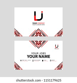 Horizontal name card with LJ logo Letter and simple red black and triangular decoration on the edge.