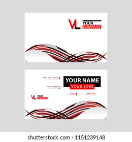 Horizontal name card with VL logo Letter and simple red black and triangular decoration on the edge.