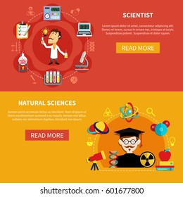 Horizontal natural science banners set with professor, researches and symbols of chemistry, phisics, flat vector illustration