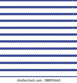 Horizontal navy marine rope striped seamless vector pattern