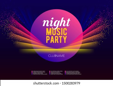 Horizontal night music party poster with color graphic elements, dark background and text.  Vector illustration.