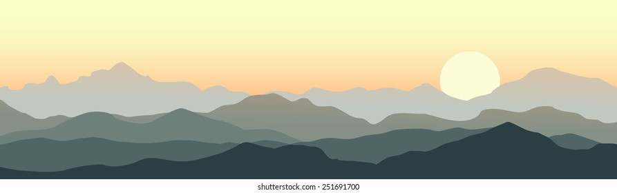 Horizontal panorama of beautiful sunrise in the mountains. Vector illustration.