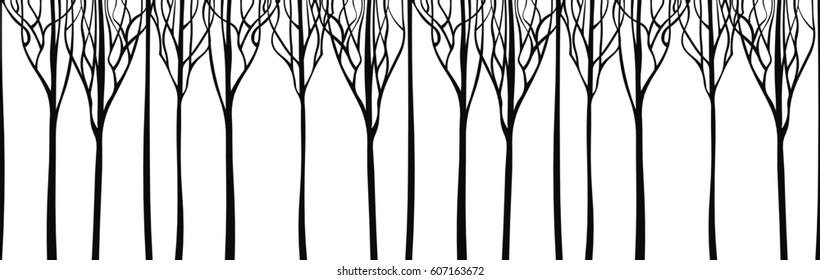 Horizontal panorama silhouette trees. Vector illustration.