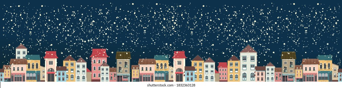 Horizontal panoramic banner, snowy city landscape, christmas night city, panoramic view, vector illustration
