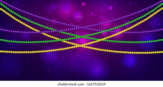 Horizontal pattern beautiful yellow, green, purple beads on a dark night background with flashes of light. Mardi Gras Party. Venetian carnival mardi gras party.  Vector Design with carnival symbol
