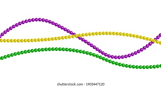 Horizontal pattern beautiful yellow, green, purple beads on a white background. Mardi Gras Party. Venetian carnival mardi gras party. Vector Design with carnival symbol