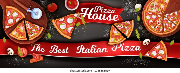 Horizontal pizza banner with mozzarella, slices, ketchup, tomato, mushrooms. Italian food background with margherita, pepperoni on black chalkboard. Fast food vector illustration in realistic style.