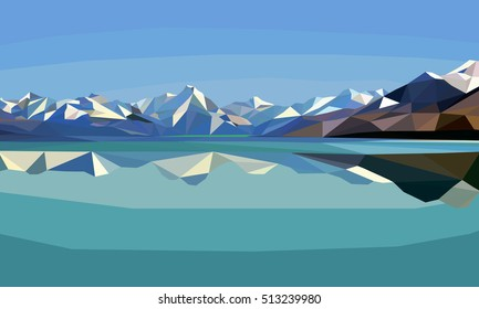 Horizontal polygon landscape.snow mountains and lake.