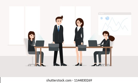 Horizontal poster with businessman and businesswoman standing near worktop in light office vector illustration. Girls sitting at desktop with laptops on dynamic chart analytics arrows on background
