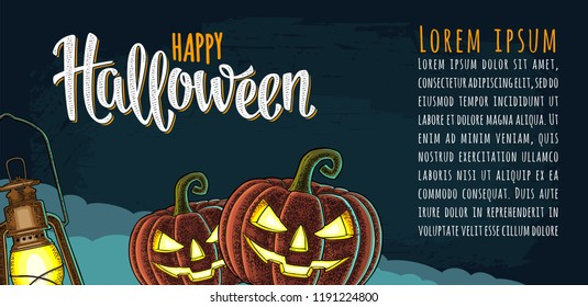 Horizontal poster with Happy Halloween handwriting calligraphy lettering. Vector color vintage engraving illustration lamp, pumpkin scary face on night sky