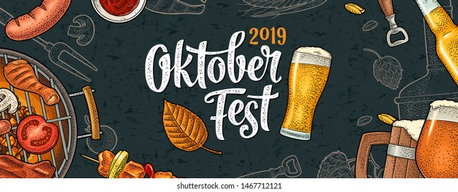 Horizontal Poster to oktoberfest 2019 festival. Beer glass and barbecue grill top view with charcoal and sausage. Vintage color vector engraving illustration on dark background