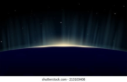 Horizontal poster of rising sun on Earth. View from space, with aurora glowing on horizon.