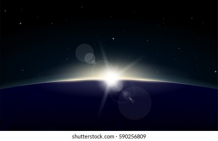 Horizontal poster of rising Sun on Earth. View from space, with glowing on horizon and lens flare. Black space and dark night planet. Beginning of new day. Sun rays and glow.
