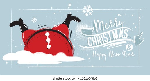 Horizontal poster Santa Claus Stuck in a pile of snow. Christmas card with Lettering