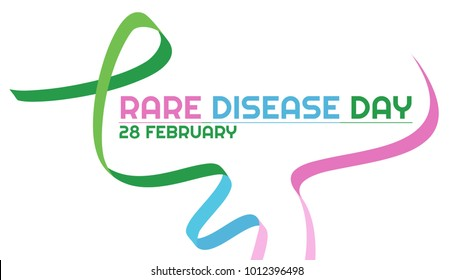 Horizontal poster. Three-color ribbon for the world rare disease day on 28 of February. On a white background