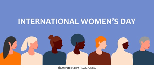 Horizontal poster with women's faces of different ethnic groups and cultures. International women's day. 8th march. Women's friendship, solidarity, sisterhood. Women empowerment movement. Eps 10