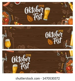 Horizontal posters to oktoberfest 2019 festival. Beer glass, barbecue grill, bottle, tap, sausage, hop branch, ear of barley, tanks brewery factory. Vintage color vector engraving illustration on wood