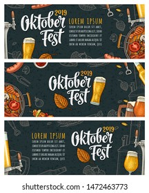 Horizontal posters to oktoberfest 2019 festival. Beer glass, barbecue grill, bottle, tap, sausage, hop branch, ear of barley, tanks brewery factory. Vintage color vector engraving illustration on dark