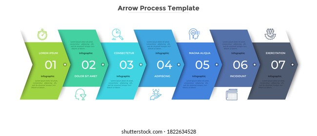 Horizontal progress bar with 7 overlapped arrow-like elements. Concept of seven steps of business strategy and development.Clean infographic design template.Modern vector illustration for presentation - Shutterstock ID 1822634528
