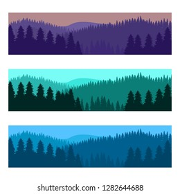 Horizontal realistic forest landscape with trees and mountains silhouettes. Vector illustration