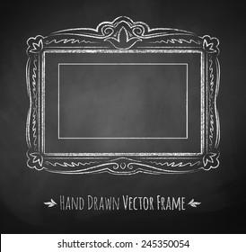 Horizontal rectangle chalked vintage baroque frame. Vector illustration. Isolated.