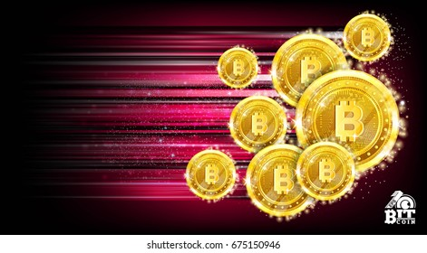 Horizontal red background with bit coins flying with speed of light and motion track back for it