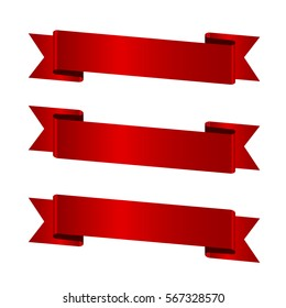 Horizontal red banners,vector ribbons