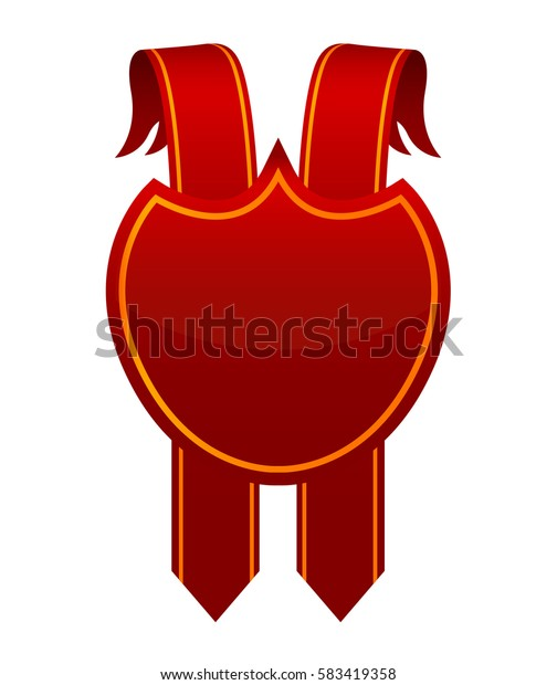 Horizontal red banner,vector ribbon with red coat of arms template