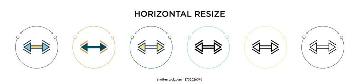Horizontal resize icon in filled, thin line, outline and stroke style. Vector illustration of two colored and black horizontal resize vector icons designs can be used for mobile, ui, web