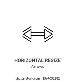 Horizontal resize outline vector icon. Thin line black horizontal resize icon, flat vector simple element illustration from editable arrows concept isolated on white background