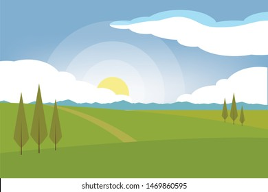 Horizontal romantic rural landscape. Farmland vector illustration.