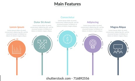 Horizontal row of 5 colorful round elements with thin line symbols inside and text boxes. Concept of five main features of business process. Simple infographic design template. Vector illustration.