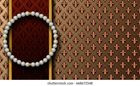Horizontal Royal background with a round pearl necklace. Vector illustration.