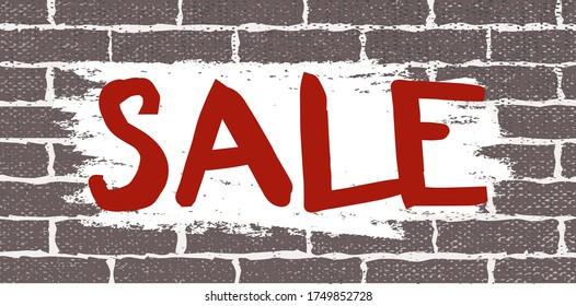 Horizontal sale banner on grunge gray brick wall background. Black market half price off sale graphic poster with shopping tag. Vector illustration. Brown brick wall texture with white brush smears