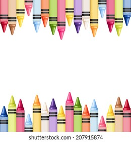 Horizontal seamless background with colorful crayons. Vector illustration.