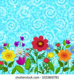 Horizontal Seamless Background, Colorful Flowers on Abstract Blue Sky Background with Spirals and Circles. Vector